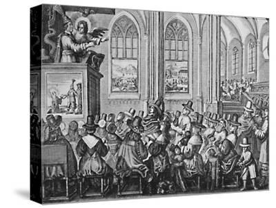 'Oliver Cromwell Preaching', c1650, (1903)-Unknown-Stretched Canvas Print