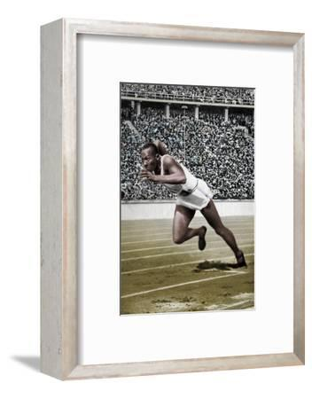 Jesse Owens at the start of the 200 metres at the Berlin Olympic Games, 1936-Unknown-Framed Photographic Print