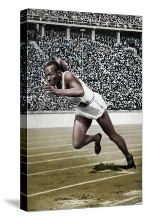 Jesse Owens at the start of the 200 metres at the Berlin Olympic Games, 1936-Unknown-Stretched Canvas Print