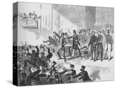 'William Lloyd Garrison trying to hold a John Brown anniversary meeting in Tremont Temple, Boston'-Unknown-Stretched Canvas Print