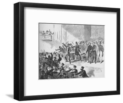 'William Lloyd Garrison trying to hold a John Brown anniversary meeting in Tremont Temple, Boston'-Unknown-Framed Giclee Print