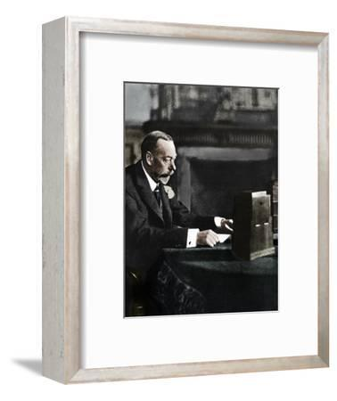 King George V broadcasting to the empire on Christmas Day, Sandringham, 1935-Unknown-Framed Photographic Print