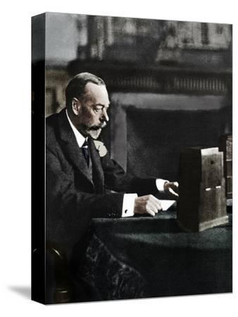King George V broadcasting to the empire on Christmas Day, Sandringham, 1935-Unknown-Stretched Canvas Print