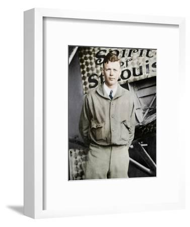 Charles Lindburgh, record breaking aviator, 1927-Unknown-Framed Photographic Print