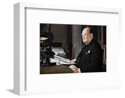 'Mr. Churchill's V.E. Day Broadcast', 1945 (1955)-Unknown-Framed Photographic Print