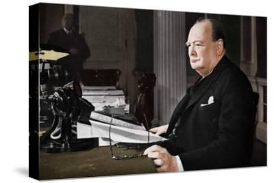 'Mr. Churchill's V.E. Day Broadcast', 1945 (1955)-Unknown-Stretched Canvas Print