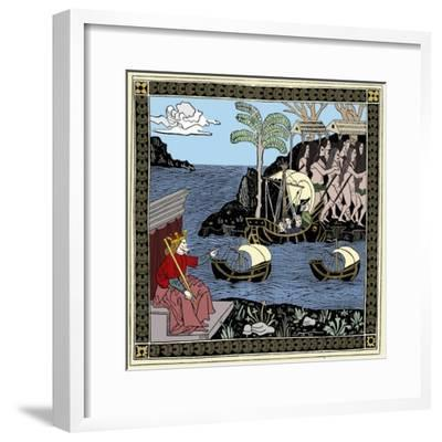 Christopher Columbus 'Discovering America', woodcut, 1493-Unknown-Framed Giclee Print