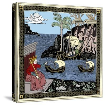 Christopher Columbus 'Discovering America', woodcut, 1493-Unknown-Stretched Canvas Print