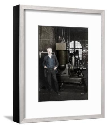 Thomas Alva Edison, American inventor, with his first dynamo for producing electric light, 1880s-Unknown-Framed Giclee Print