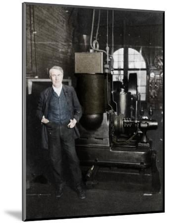 Thomas Alva Edison, American inventor, with his first dynamo for producing electric light, 1880s-Unknown-Mounted Giclee Print