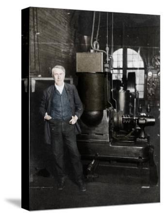 Thomas Alva Edison, American inventor, with his first dynamo for producing electric light, 1880s-Unknown-Stretched Canvas Print