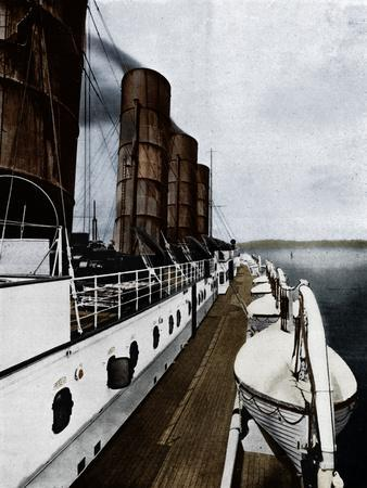 'The boat deck of the Lusitania, showing lifeboats', 1915-Unknown-Framed Photographic Print