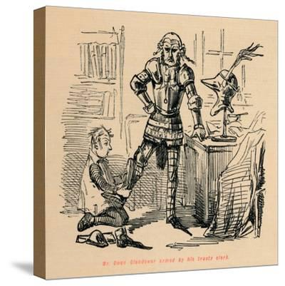 'Mr. Owen Glendower armed by his trusty clerk', c1860, (c1860)-John Leech-Stretched Canvas Print