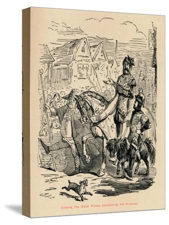 'Edward the Black Prince, conducting his Prisoner', c1860, (c1860)-John Leech-Stretched Canvas Print