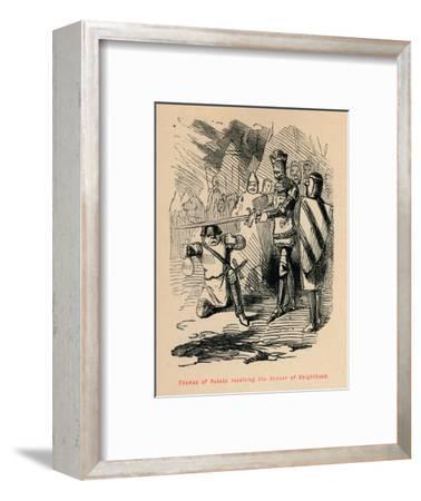 'Thomas of Rokeby receiving the honour of Knighthood', c1860, (c1860)-John Leech-Framed Giclee Print