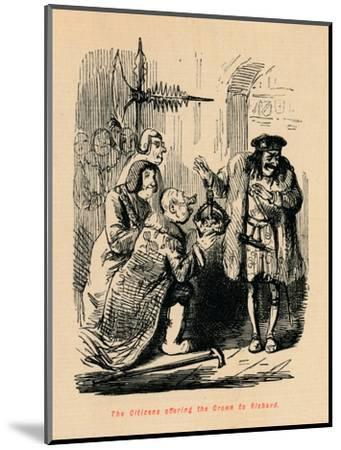 'The Citizens offering the Crown to Richard',-John Leech-Mounted Giclee Print