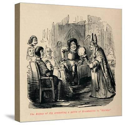 'The Bishop of Ely presenting a pottle of Strawberries to Glo'ster.,-John Leech-Stretched Canvas Print