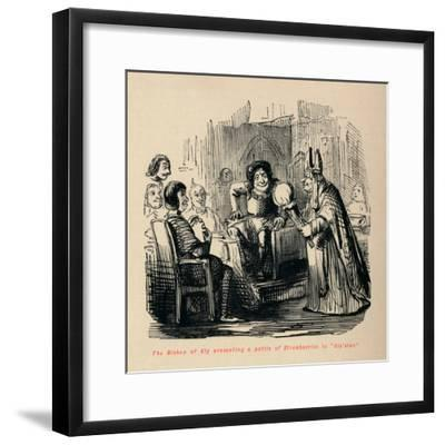 'The Bishop of Ely presenting a pottle of Strawberries to Glo'ster.,-John Leech-Framed Giclee Print