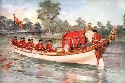 King George V and Queen Mary visiting Henly Regatta on the state barge, 1912-Unknown-Framed Giclee Print