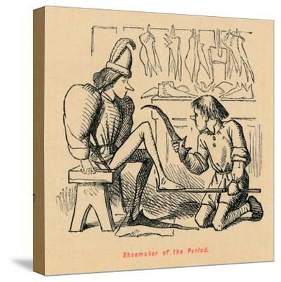 'Shoemaker of the Period',-John Leech-Stretched Canvas Print