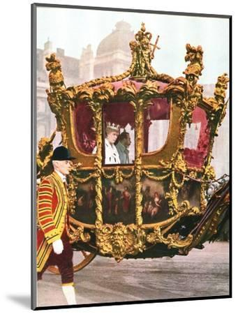 King George V and Queen Mary in the historic State Coach, c1935-Unknown-Mounted Giclee Print