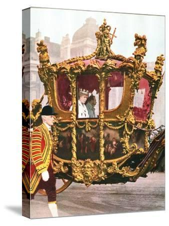 King George V and Queen Mary in the historic State Coach, c1935-Unknown-Stretched Canvas Print