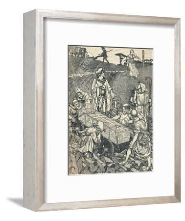 'The Legend of St. Cuthbert, Pen Drawing', 1891-1920, (1923)-Robert Spencer-Framed Giclee Print
