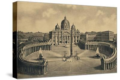 'Roma - Basilica and Square of S. Peter. Vatican Palace', 1910-Unknown-Stretched Canvas Print