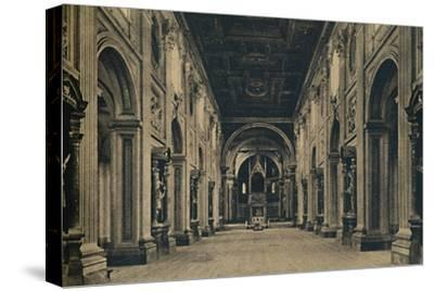'Roma - Main nave of the Basilica of St. John Lateran (Borromini, arch. 1650)', 1910-Unknown-Stretched Canvas Print