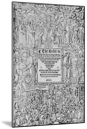 'Title-Page of the Great Bible, 1540, (1903)-Master of Francois de Rohan-Mounted Giclee Print