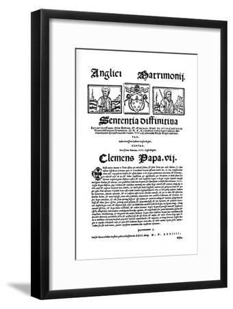 'Bull of Pope Clement VII. Against Henry VIII's Divorce', 1530, (1903)-Unknown-Framed Giclee Print