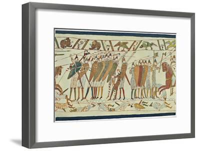 'The Beginning of the Battle of Senlac (Bayeux Tapestry)', c15th century, (1902)-Unknown-Framed Giclee Print
