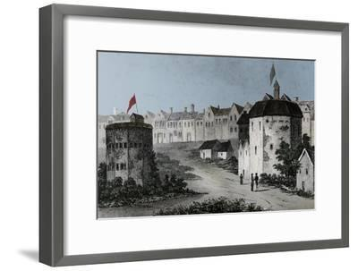 Globe Theatre, Bankside, Southwark (right) and the Bear Garden, c1597 (1825)-Unknown-Framed Giclee Print