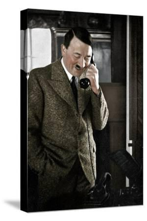 Adolf Hitler on the telephone, January 1935-Unknown-Stretched Canvas Print
