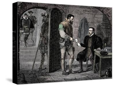 William Tyndale, English translator, 1536 (late 19th century)-Unknown-Stretched Canvas Print