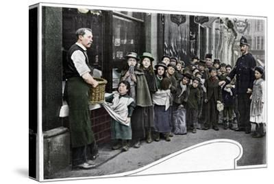 Waiting for parcels of food, Cheapside, c1903 (1903)-Unknown-Stretched Canvas Print
