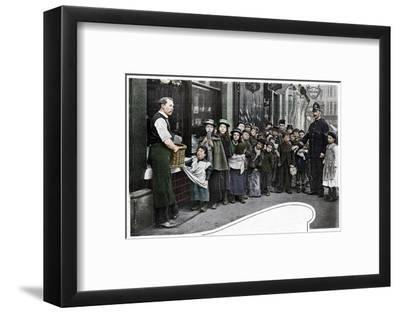 Waiting for parcels of food, Cheapside, c1903 (1903)-Unknown-Framed Photographic Print