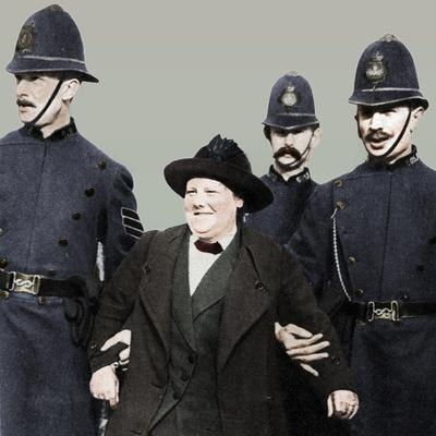 Mrs Flora Drummond, arrested in Hyde Park, London, 1914, (1935)-Unknown-Framed Photographic Print