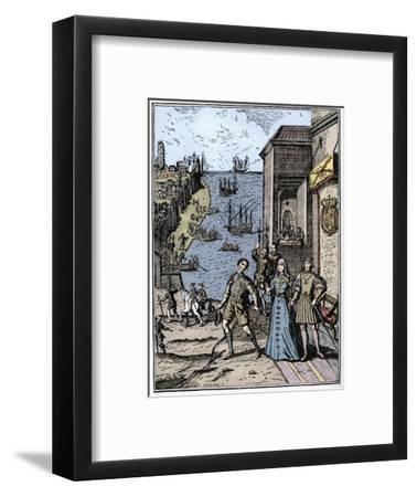 Columbus with Ferdinand and Isabella, (3rd August 1492), 1912-Unknown-Framed Giclee Print