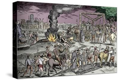 Martyrs at Smithfield, London, c1600 (1904)-Unknown-Stretched Canvas Print