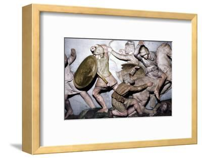 Greeks fight Persians, the Alexander Sarcophagus, Sidon, 4th century BC, (20th century)-Unknown-Framed Photographic Print
