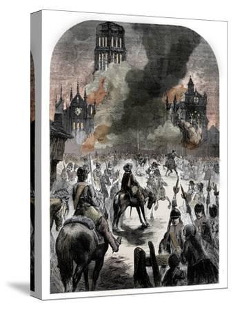 The burning of St Paul's Cathedral during the Great Fire of London, c1902-Unknown-Stretched Canvas Print