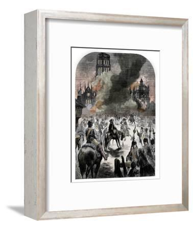 The burning of St Paul's Cathedral during the Great Fire of London, c1902-Unknown-Framed Giclee Print