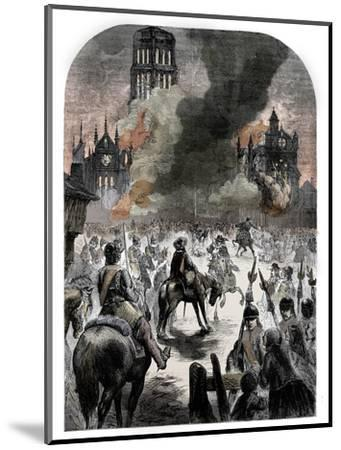 The burning of St Paul's Cathedral during the Great Fire of London, c1902-Unknown-Mounted Giclee Print