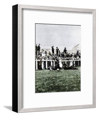 Emily Davison throwing herself in front of the King's horse during the Derby, Epsom, Surrey, 1913-Unknown-Framed Photographic Print