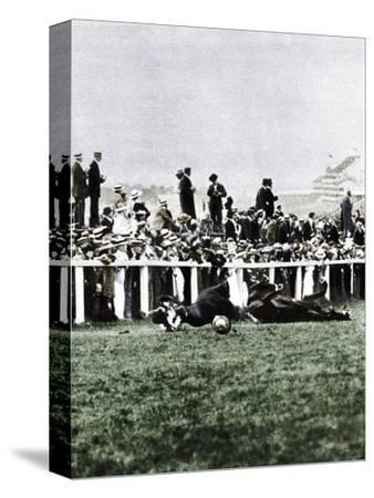 Emily Davison throwing herself in front of the King's horse during the Derby, Epsom, Surrey, 1913-Unknown-Stretched Canvas Print