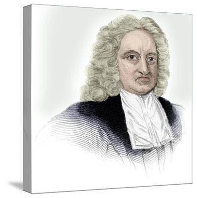 Edmond Halley, English astronomer, mathematician, meteorologist, and physicist, (c1850)-Unknown-Stretched Canvas Print