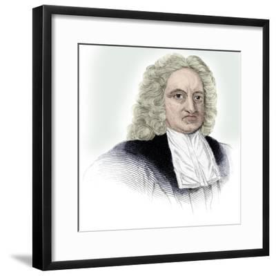 Edmond Halley, English astronomer, mathematician, meteorologist, and physicist, (c1850)-Unknown-Framed Giclee Print