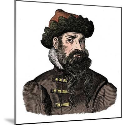 Johann Gutenberg, German metalworker and inventor, 16th century, (1870).-Unknown-Mounted Giclee Print