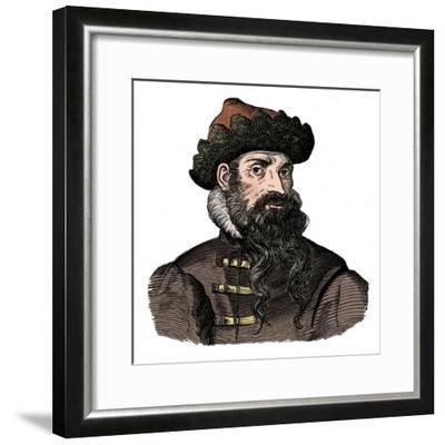 Johann Gutenberg, German metalworker and inventor, 16th century, (1870).-Unknown-Framed Giclee Print